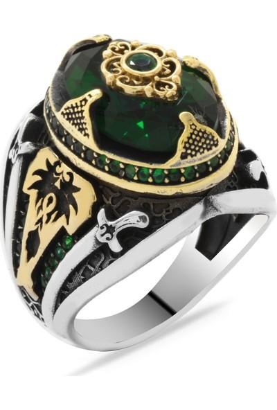 Ergenekon Aksesuar Kılıç Temalı Faset Kesim Yeşil Zirkon Taşlı 925 Ayar Gümüş Erkek Yüzük