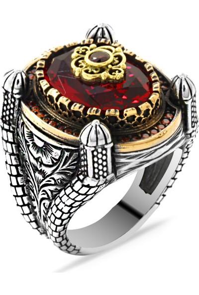 Ergenekon Aksesuar Kubbe Tasarım Faset Kesim Kırmızı Zirkon Taşlı 925 Ayar Gümüş Erkek Yüzük