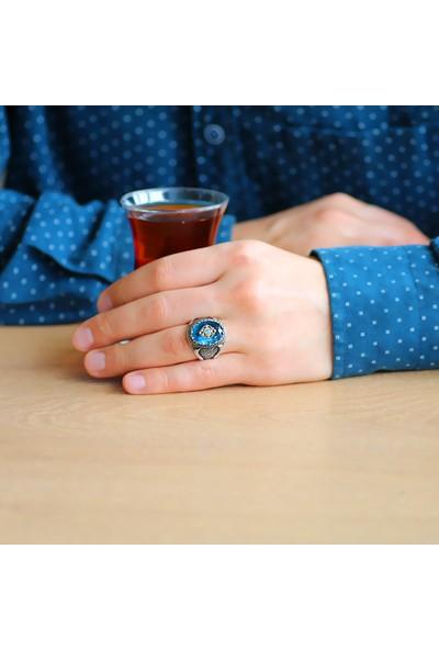 Ergenekon Aksesuar Faset Kesim Aqua Mavi Zirkon Taşlı Mikro Taş Mıhlamalı 925 Ayar Gümüş Erkek Yüzük