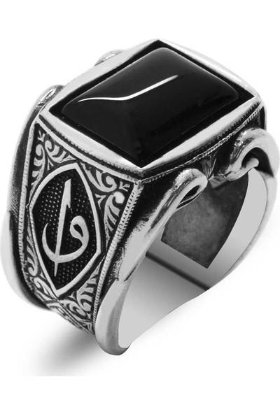 Ergenekon Aksesuar Elif-Vav Motifli Siyah Oniks Taşlı 925 Ayar Gümüş Erkek Yüzük