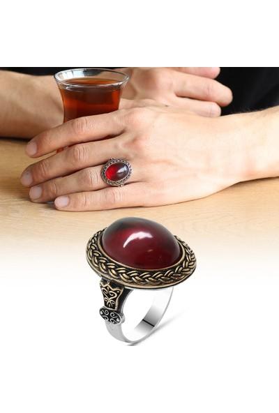 Ergenekon Aksesuar Kırmızı Ateş Kehribar Taşlı Oval Tasarım 925 Ayar Gümüş Erkek Yüzük