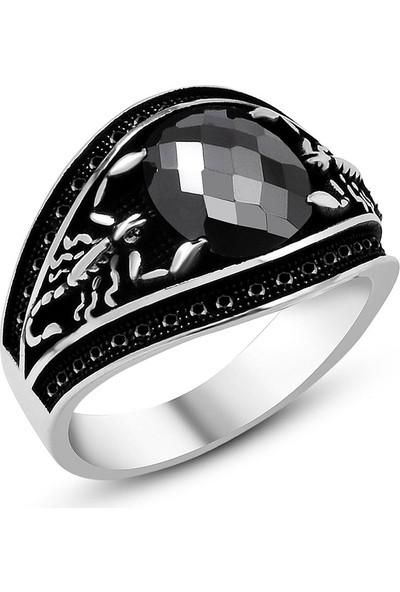 Ergenekon Aksesuar Akrep Tasarım Siyah Oniks Taşlı 925 Ayar Gümüş Erkek Yüzük