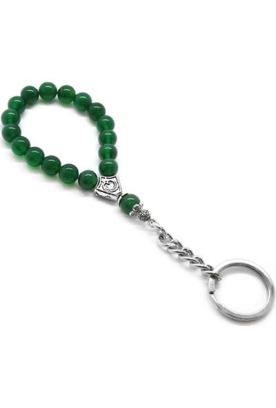 Gül Endam Yeşil Akik Doğaltaş-Krom Çelik Kombinli Tesbih Anahtarlık