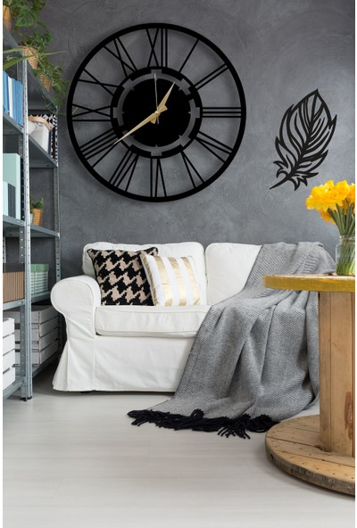 Dekoratif Siyah Duvar Saati 50cm + Yapraklı Tablo
