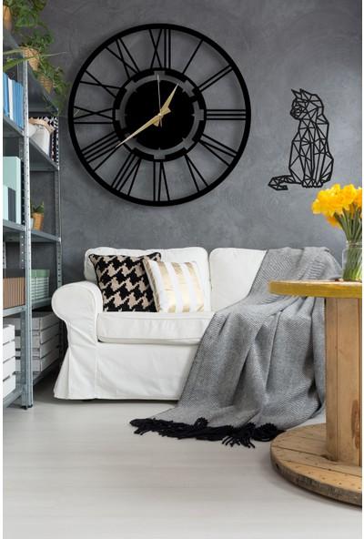 Dekoratif Siyah Duvar Saati 50cm + Kedili Tablo