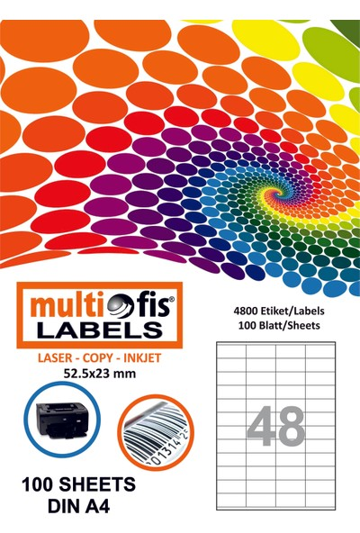 Multiofis 52,5X23 Mm Laser Etiket 5248