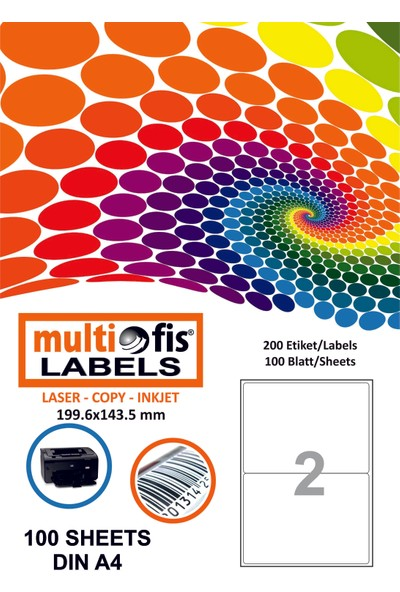 Multiofis 199,6X143,5 Mm Laser Etiket 5002