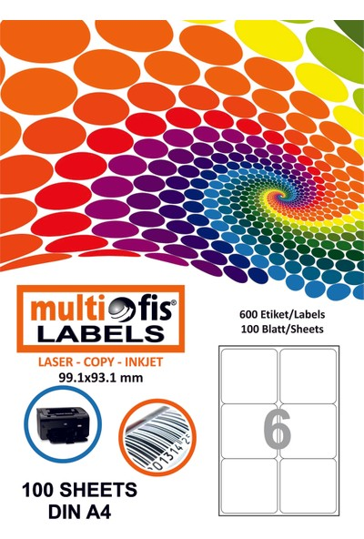 Multiofis 99,1X93,1 Mm Laser Etiket 5006
