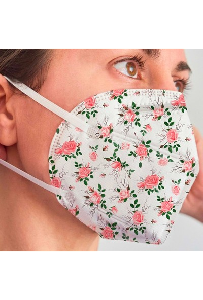 3nnn N95 / Ffp2 Beyaz Çiçek Desenli Full Ultrasonic Maske 5' li