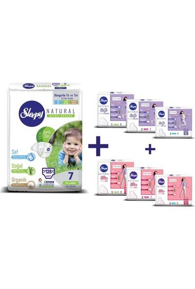 Sleepy Natural Bebek Bezi 7 Numara Xxlarge Ultra Fırsat Paketi 128 Adet + 21 Ped Slim + 21 Ped Soft Kadın Pedi