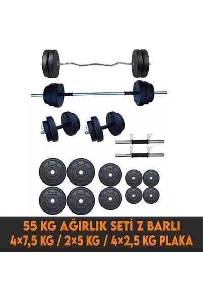 Smyrna 55 kg Halter - Ağırlık ve Dambıl Seti + Z Bar