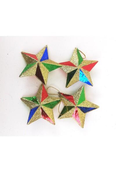 Genç Dijital Baskı Yılbaşı Ağacı Süsleri 4 Lü Yıldız Set