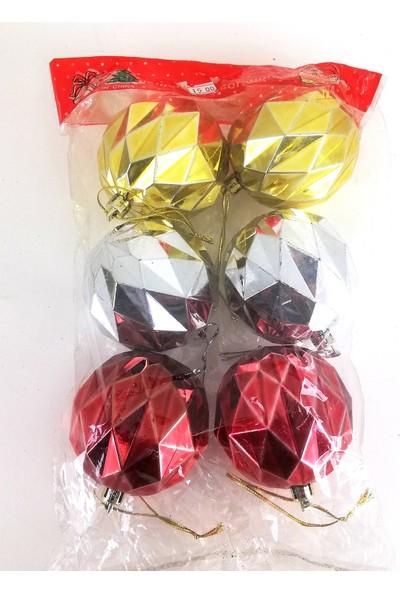 Genç Dijital Baskı Yılbaşı Ağaç Süsleri 6 cm ve 6 Adet(2 Gümüş-2 Kırmızı-2 Sarı Top)