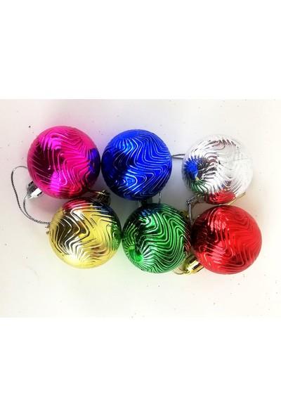 Genç Dijital Baskı Yılbaşı Ağaç Süsleri 4,5 cm Farklı Renklerde 6 Adet