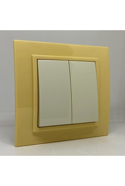 Elbi Zena Ikili Anahtar Çerçeveli Komütatör Açık Sarı Renkli