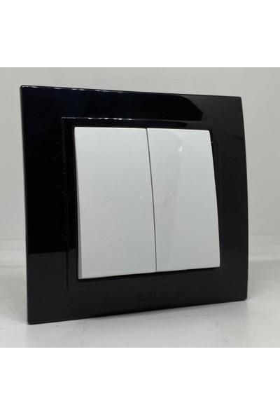 Elbi Zena Komütatör Çerçeveli Ikili Anahtar Priz Siyah Beyaz Renkli