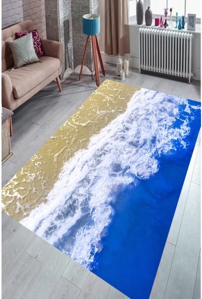 Deniz ve Sahil Buluşması Dijital Baskılı Halı Örtüsü HRC1738