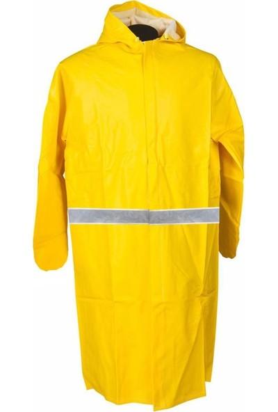 Pvc Yağmurluk Reflektörlü Iş Güvenlik Yağmurluk Sarı