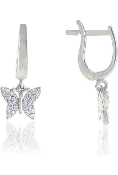 Midyat Nurtaş Gümüş Kelebek Tasarım Zirkon Taşlı Gümüş Küpe