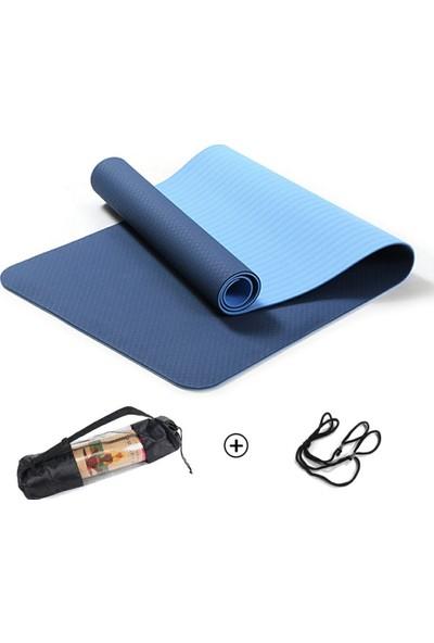 Pilates & Yoga Minderi, Çift Renkli Mat Mavi