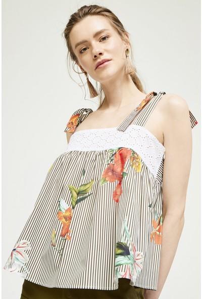 Jly Çiçek Desen Bluz Gri 36