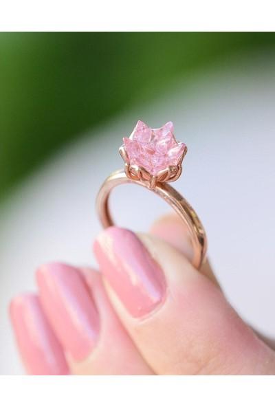 Takılingo Lotus Çiçeği Motifli Pembe Renk Rose Kaplama Kadın Gümüş Yüzük
