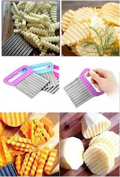 Evimsan 2'li Set- Çelik Hamur Kesici-Chips Chopper Şekilli Sebze Ve Meyve Dilimleyici
