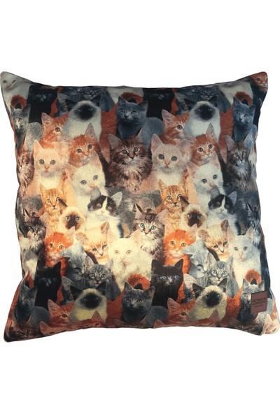 Arasta Design Kadife Kırlent Kılıfı, Kedi Desenli , Arkası Kiremit Rengi Dekoratif Kırlent Kılıfı