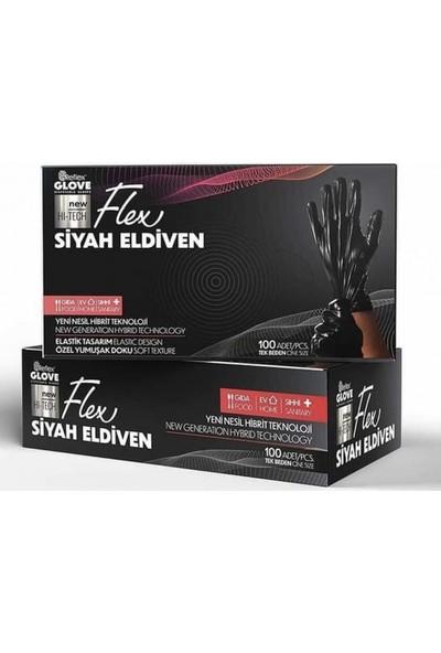 Reflex Glove Yeni Nesil Hibrit Teknoloji, Polietilen, Pudrasız 100'LÜ Paket Siyah Eldiven