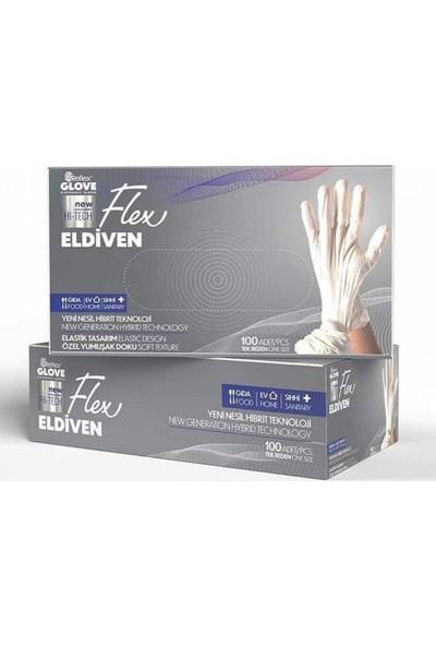 Reflex Glove Yeni Nesil Hibrit Teknoloji, Polietilen, Pudrasız 100'LÜ Paket Beyaz Eldiven