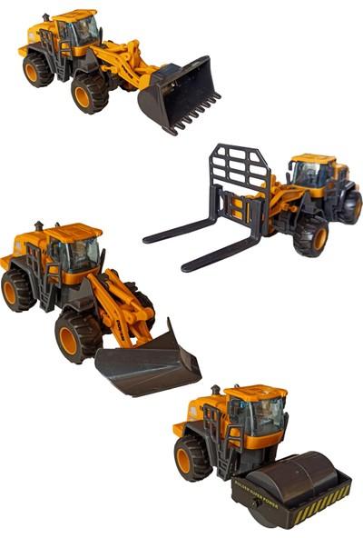 Meva Oyuncak Iş Makineleri Dozer, Kar Küreme, Forklift ve Silindir Seti