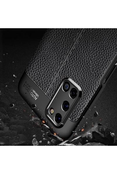 Oppo A72 Kılıf Deri Görünüm Sert Karbon Kapak Siyah
