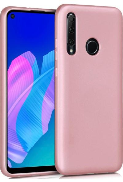 Huawei P40 Lite E Kılıf Ultra Ince Renkli Silikon Kapak Rose Gold
