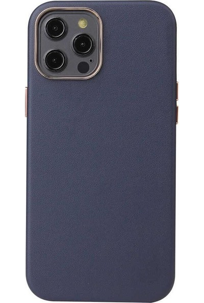 Vendas iPhone 12 Pro Max Vipas Serisi Metalize Kenarlı Deri Kılıf