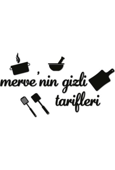 Meşgalem Ahşap Dekoratif Mutfak Aynası Isme Özel Siyah Renk Duvar Süsü - 1
