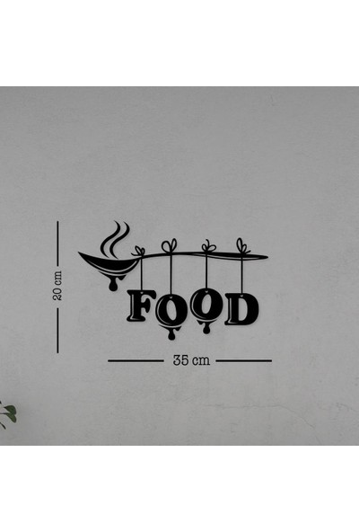 Meşgalem Mutfak Yazısı Food Ahşap Dekoratif Duvar Süsü