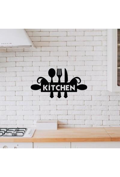 Meşgalem Ahşap Dekoratif Siyah Kitchen Yazılı Mutfak Tablo Süsü;