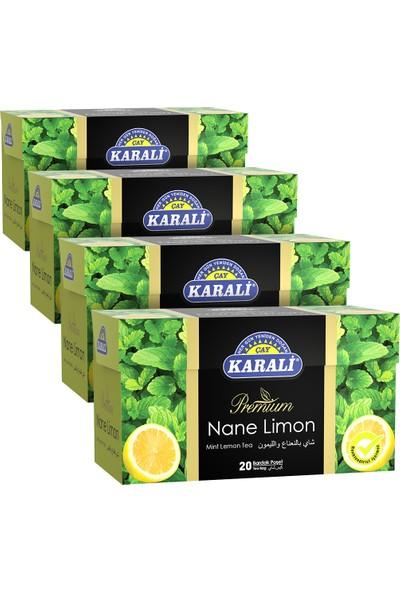 Karali Premium Bardak Poşet Nane Limon Çayı 20'li x 4'lü
