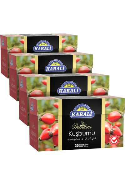 Karali Premium Bardak Poşet Kuşburnu Çayı 20'li x 4'lü