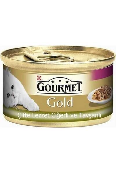 Gourmet Gold Çifte Lezzet Ciğerli Tavşanlı Yetişkin Kedi Konservesi 85 gr