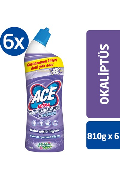 ACE Ultra Yoğun Kıvamlı Çamaşır Suyu Okaliptus 810g x6