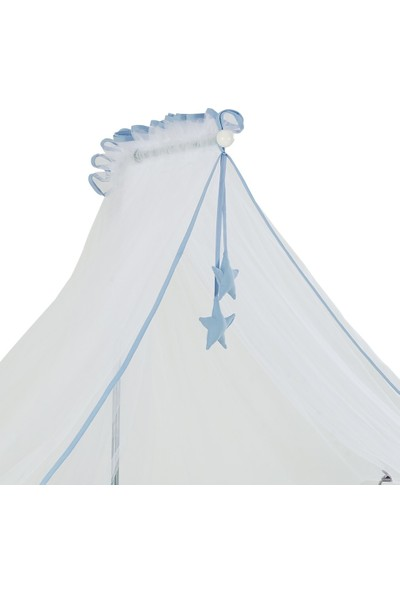G&G Baby Mavi Biyeli Beyaz Cibinlik Tülü + Metal Cibinlik Askısı