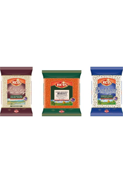 Reis 3'lü Set (Gönen Baldo Pirinç 2,5kg & Dermason Fasülye 2,5kg & Kırımızı Iç Mercimek 2,5kg) 7,5 kg