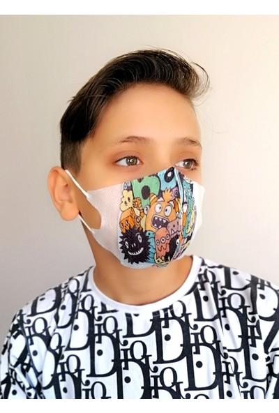 Corelife 3D Desenli Erkek Çocuk Cerrahi Maske (50 Adet-Monster Desenli)