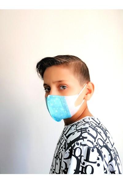 Corelife 3D Desenli Erkek Çocuk Cerrahi Maske (50 Adet-Yıldız Desenli)
