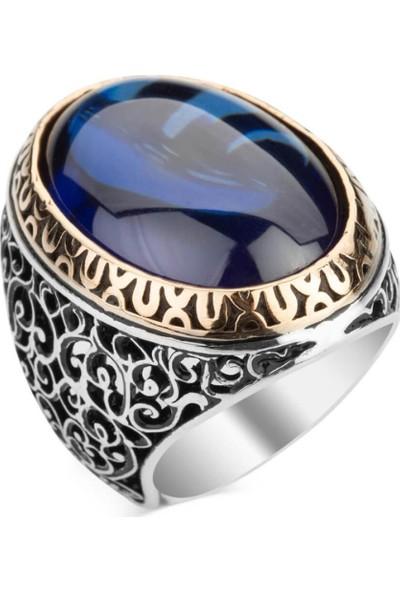 Candie Silver Parliament Mavi Zirkon Taşlı Oval Kesim Gümüş Erkek Yüzük