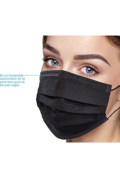 Morven Melantis Medikal Tek Kullanımlık 3 Katlı Telli Cerrahi Maske 10'lu x 5 Kutu 50 Adet Siyah Siyah