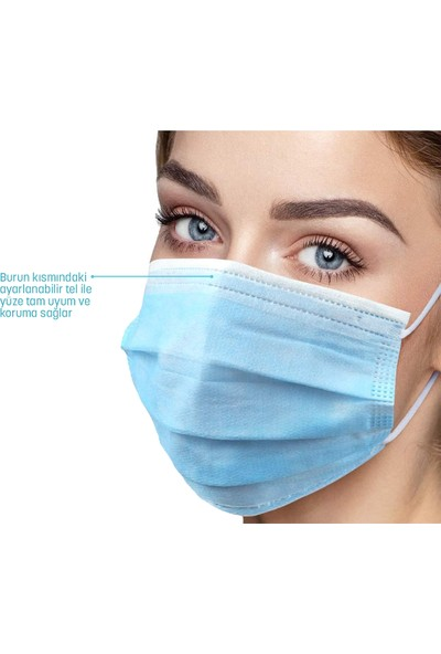 Morven Melantis Medikal Telli 3 Katlı Cerrahi Maske 50 Adet* 3 Kutu Mavi Mavi