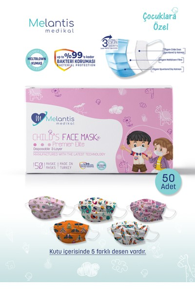 Morven Melantis Medikal Meltblownlu 3 Katlı Telli Cerrahi Maske Kız Çocuk 1 Kutu = 50 Adet Renkli