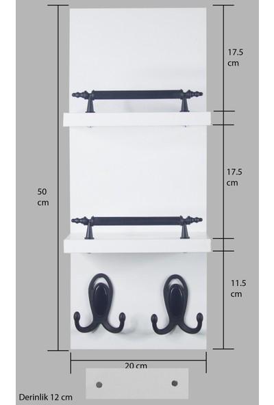Akyıldız Tasarım Dekoratif Beyaz Mdf Duvar Askısı Portmanto Askılık Vestiyer MDA2050_B